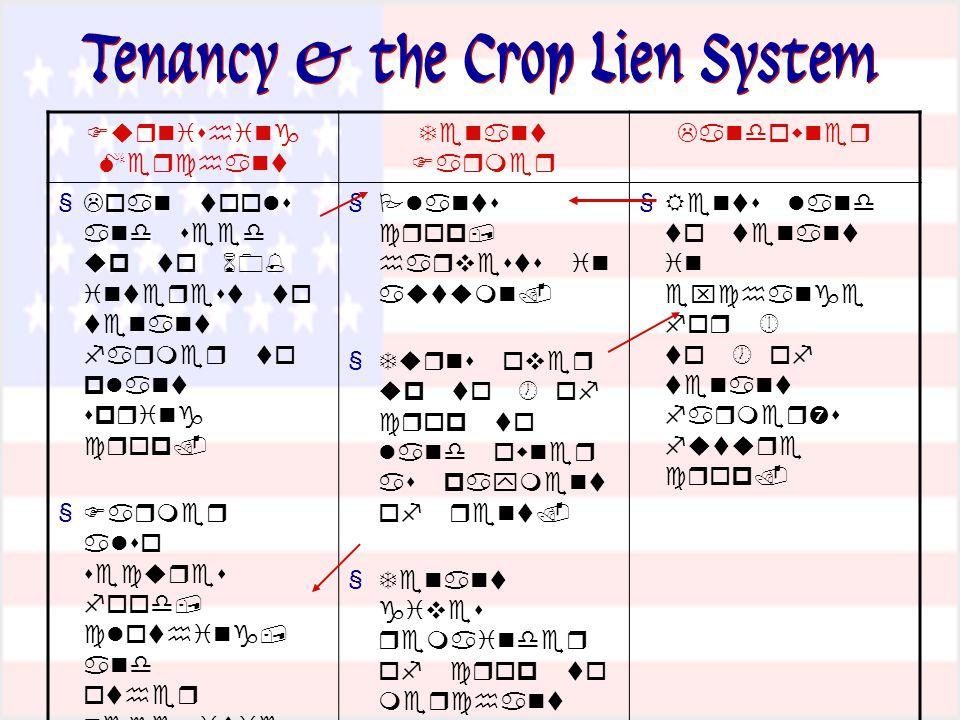 Tenancy & the Crop Lien System      §          §               §       '      §     §       §         §         '   