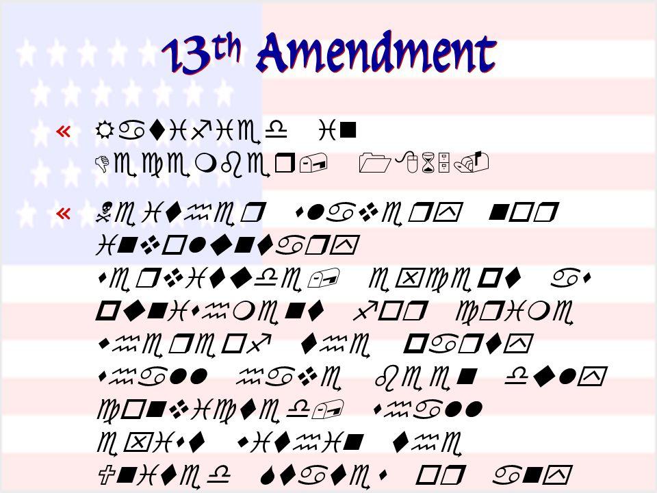 13 th Amendment «   «            «     