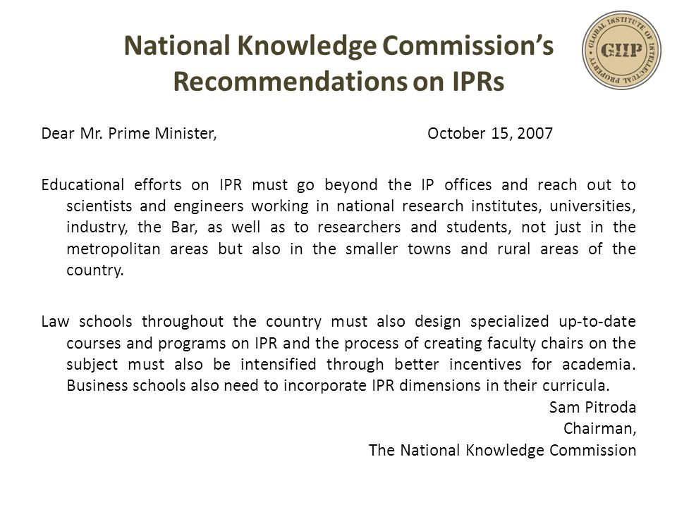 National Knowledge Commission's Recommendations on IPRs Dear Mr.