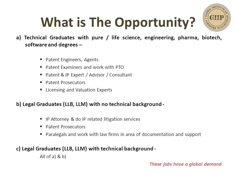 What is The Opportunity? a) Technical Graduates with pure / life science, engineering, pharma, biotech, software and degrees –  Patent Engineers, Age