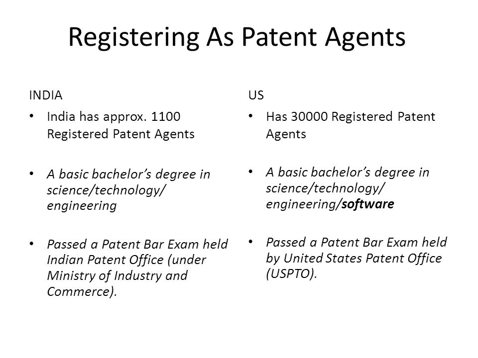 Registering As Patent Agents INDIA India has approx.