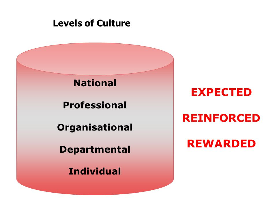 Levels of Culture National Professional Organisational Departmental Individual EXPECTED REINFORCED REWARDED