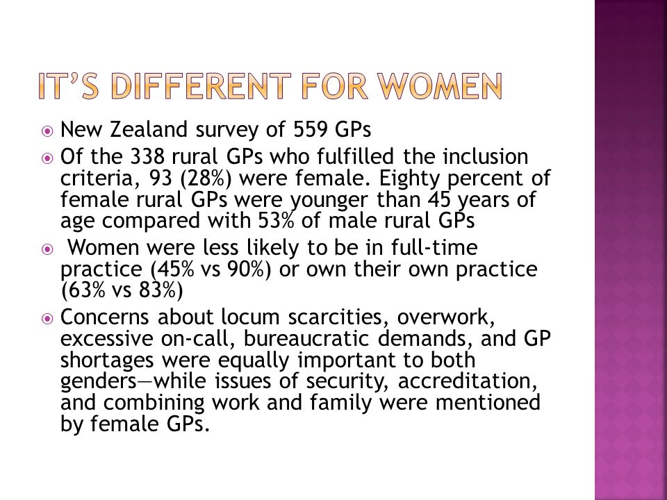  New Zealand survey of 559 GPs  Of the 338 rural GPs who fulfilled the inclusion criteria, 93 (28%) were female.