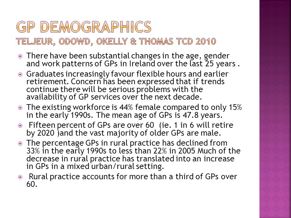  There have been substantial changes in the age, gender and work patterns of GPs in Ireland over the last 25 years.