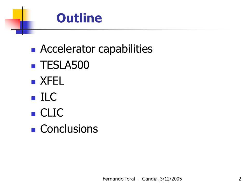 Fernando Toral - Gandía, 3/12/20052 Outline Accelerator capabilities TESLA500 XFEL ILC CLIC Conclusions