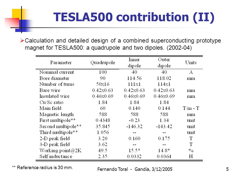 Fernando Toral - Gandía, 3/12/20055 TESLA500 contribution (II)  Calculation and detailed design of a combined superconducting prototype magnet for TESLA500: a quadrupole and two dipoles.