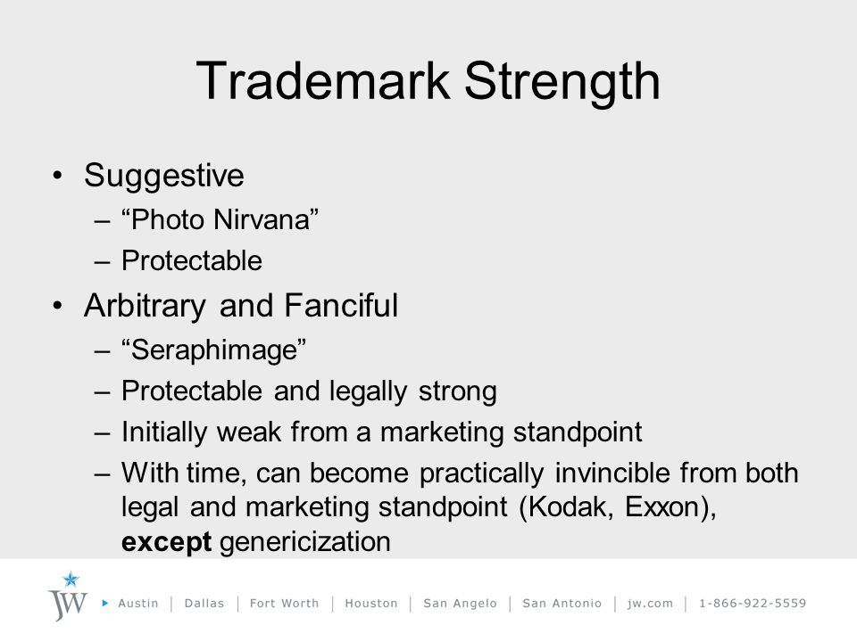 Trademark Strength Suggestive – Photo Nirvana –Protectable Arbitrary and Fanciful – Seraphimage –Protectable and legally strong –Initially weak from a marketing standpoint –With time, can become practically invincible from both legal and marketing standpoint (Kodak, Exxon), except genericization