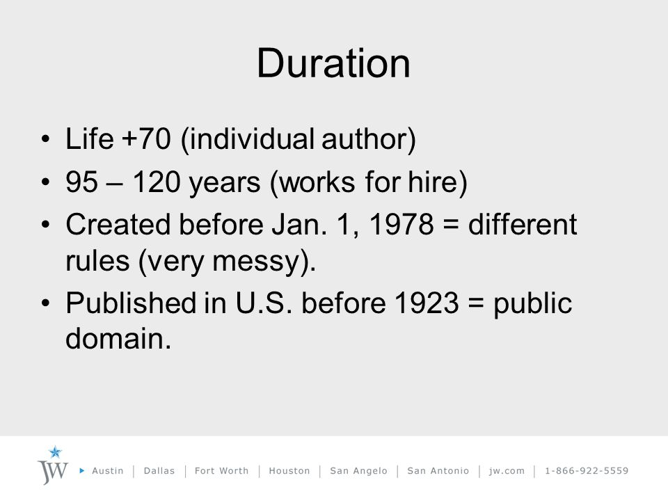 Duration Life +70 (individual author) 95 – 120 years (works for hire) Created before Jan.