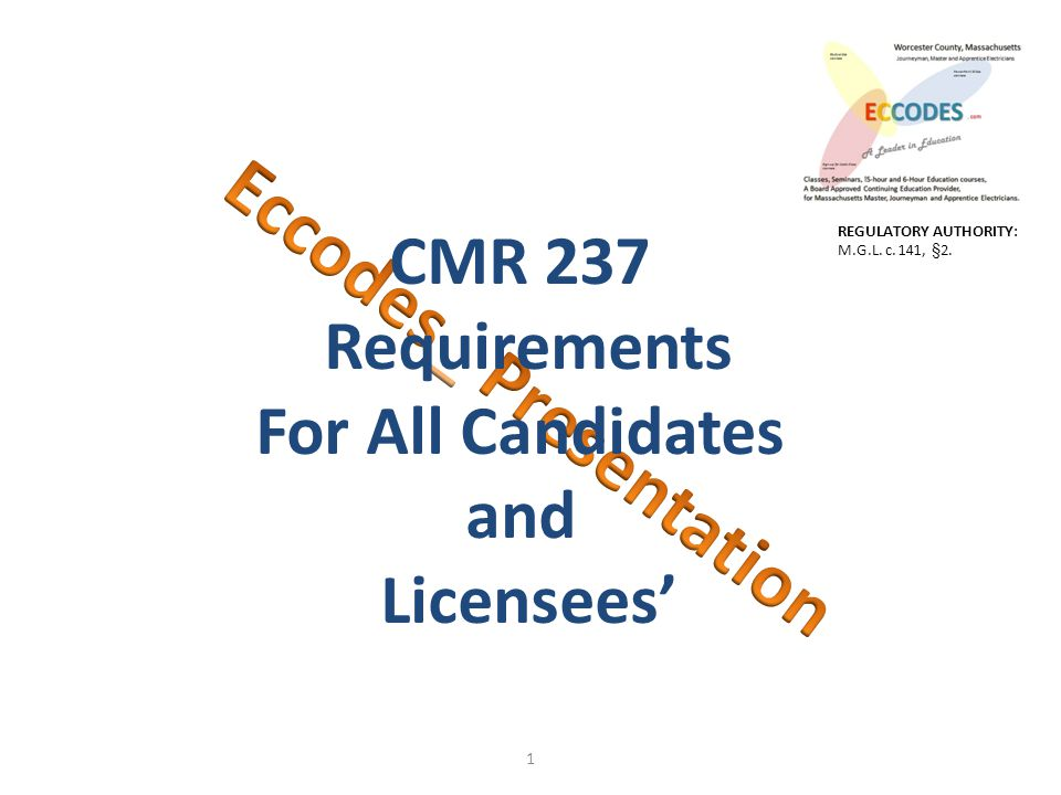 1 CMR 237 Requirements For All Candidates and Licensees' REGULATORY AUTHORITY: M.G.L. c. 141, §2.