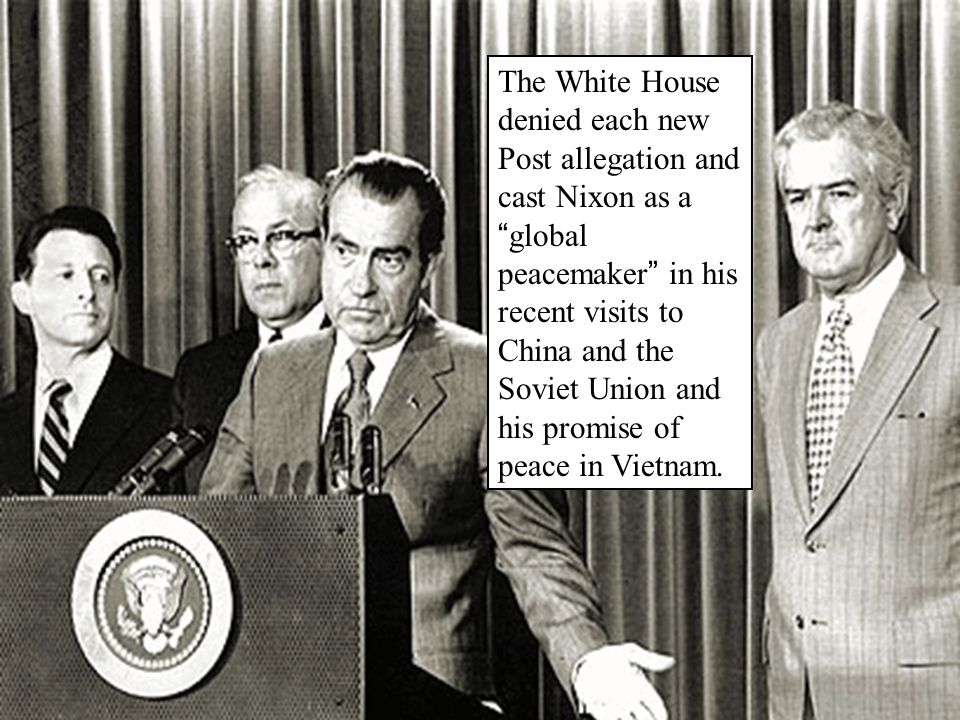 """The White House denied each new Post allegation and cast Nixon as a """" global peacemaker """" in his recent visits to China and the Soviet Union and his p"""
