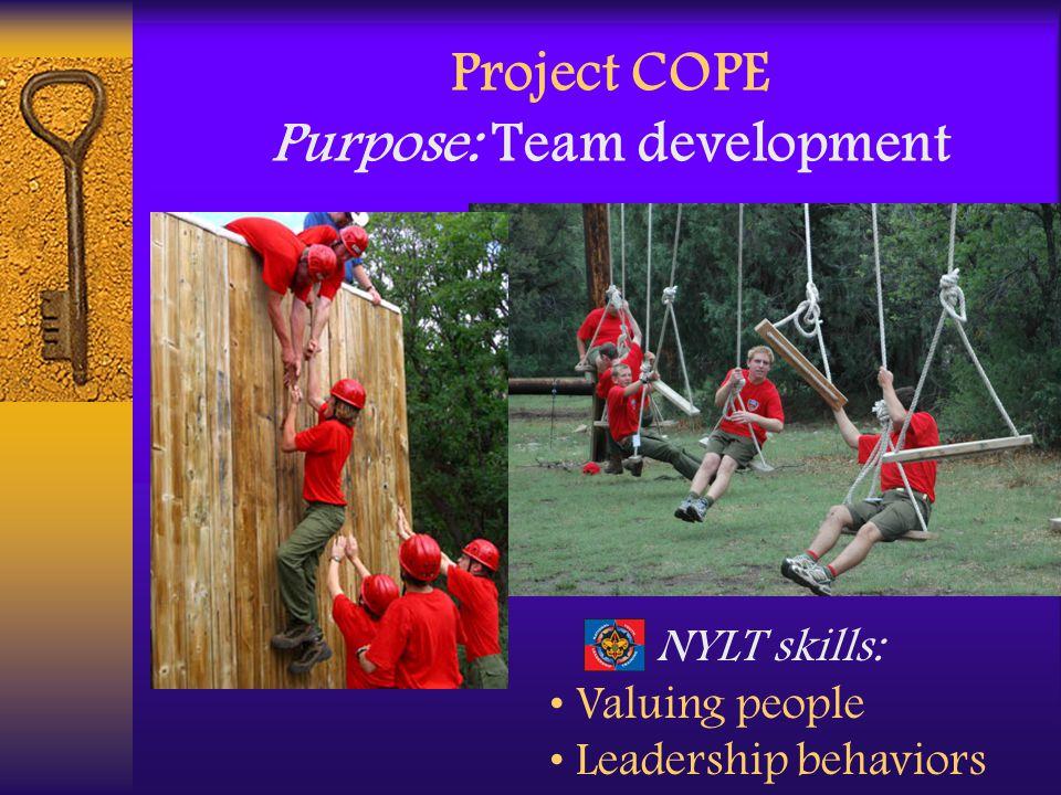 Project COPE Purpose: Team development NYLT skills: Valuing people Leadership behaviors