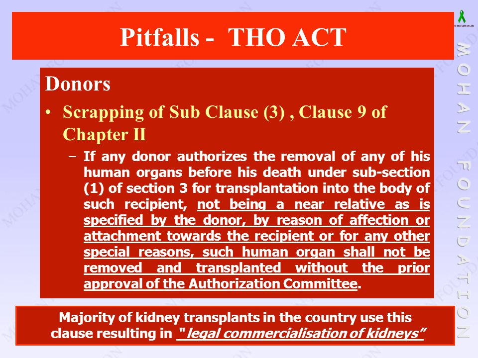 Donors Scrapping of Sub Clause (3), Clause 9 of Chapter II –If any donor authorizes the removal of any of his human organs before his death under sub-