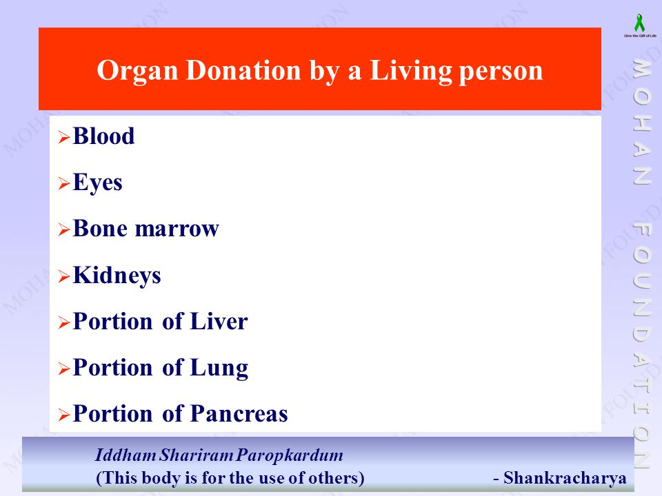 Organ Donation by a Living person  Blood  Eyes  Bone marrow  Kidneys  Portion of Liver  Portion of Lung  Portion of Pancreas Iddham Shariram Pa