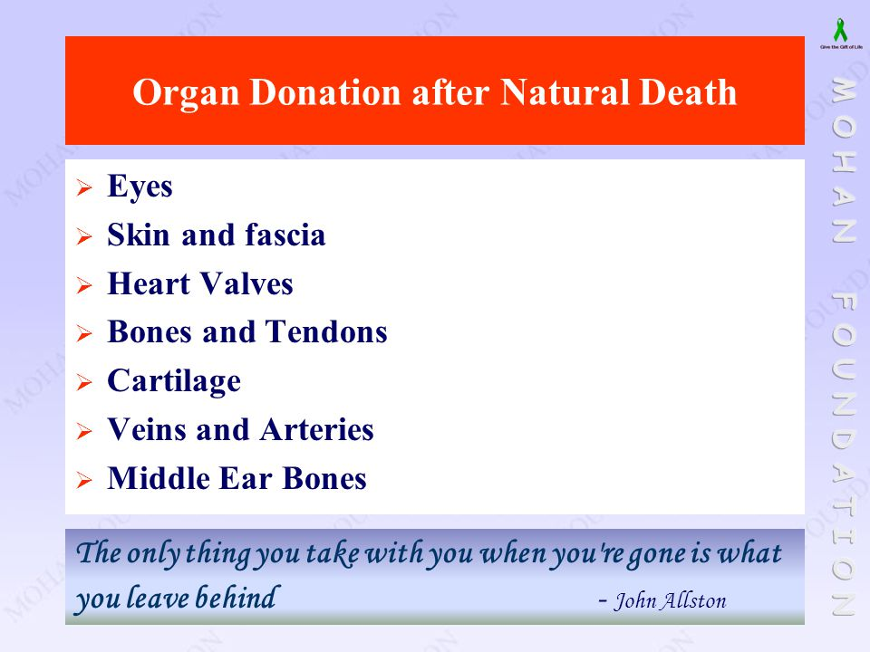Organ Donation after Natural Death  Eyes  Skin and fascia  Heart Valves  Bones and Tendons  Cartilage  Veins and Arteries  Middle Ear Bones The