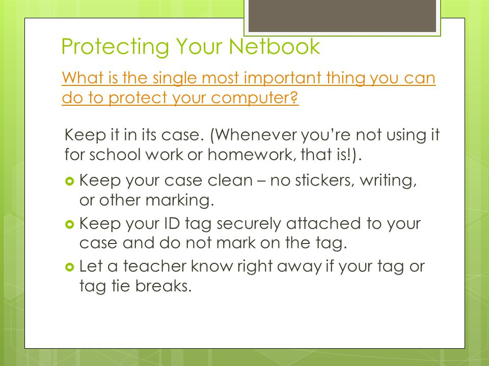 Protecting Your Netbook What is the single most important thing you can do to protect your computer