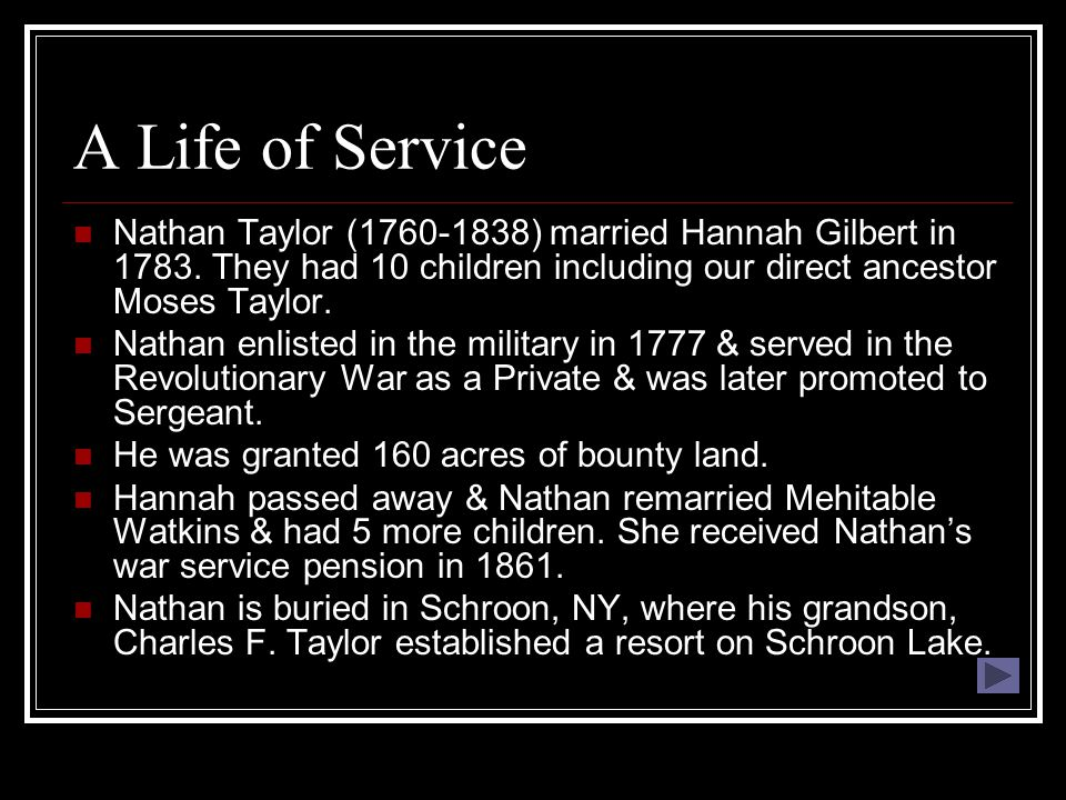 A Life of Service Nathan Taylor (1760-1838) married Hannah Gilbert in 1783.