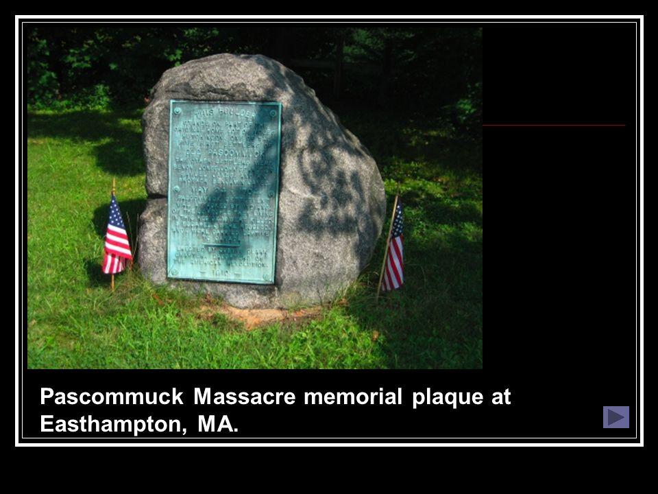 Pascommuck Massacre memorial plaque at Easthampton, MA.