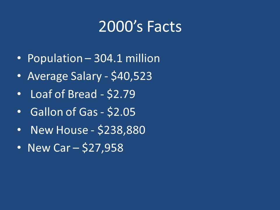 2000's Facts Population – 304.1 million Average Salary - $40,523 Loaf of Bread - $2.79 Gallon of Gas - $2.05 New House - $238,880 New Car – $27,958