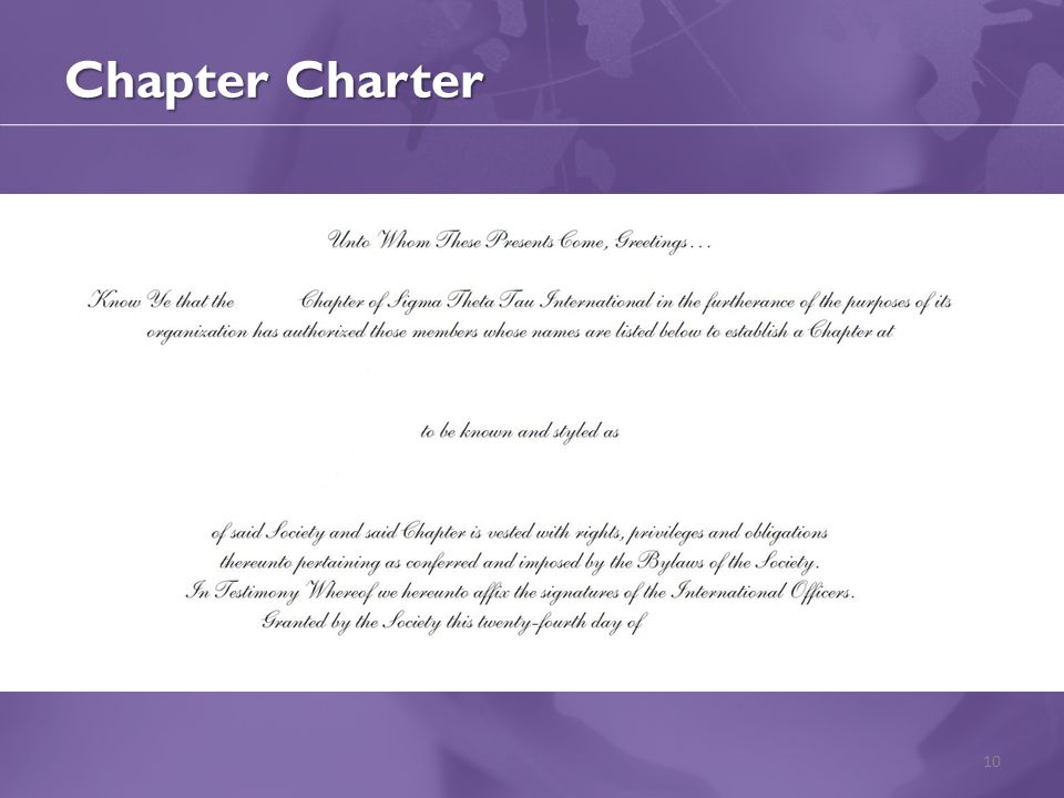 Chapter Charter 10