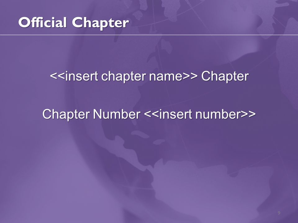Official Chapter > Chapter > Chapter Chapter Number > 9