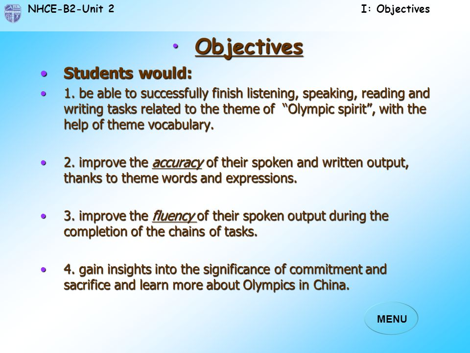 NHCE-B2-Unit 2 MENU I. Objectives I. Objectives II. Preview II. Preview III. Leading-in III. Leading-in IV. Section A-Text IV. Section A-Text V. Answe
