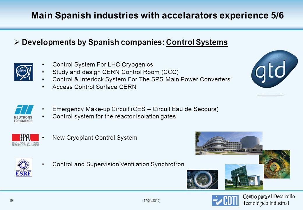 19(17/04/2015) Main Spanish industries with accelarators experience 5/6 Control System For LHC Cryogenics Study and design CERN Control Room (CCC) Control & Interlock System For The SPS Main Power Converters' Access Control Surface CERN Emergency Make-up Circuit (CES – Circuit Eau de Secours) Control system for the reactor isolation gates New Cryoplant Control System Control and Supervision Ventilation Synchrotron  Developments by Spanish companies: Control Systems