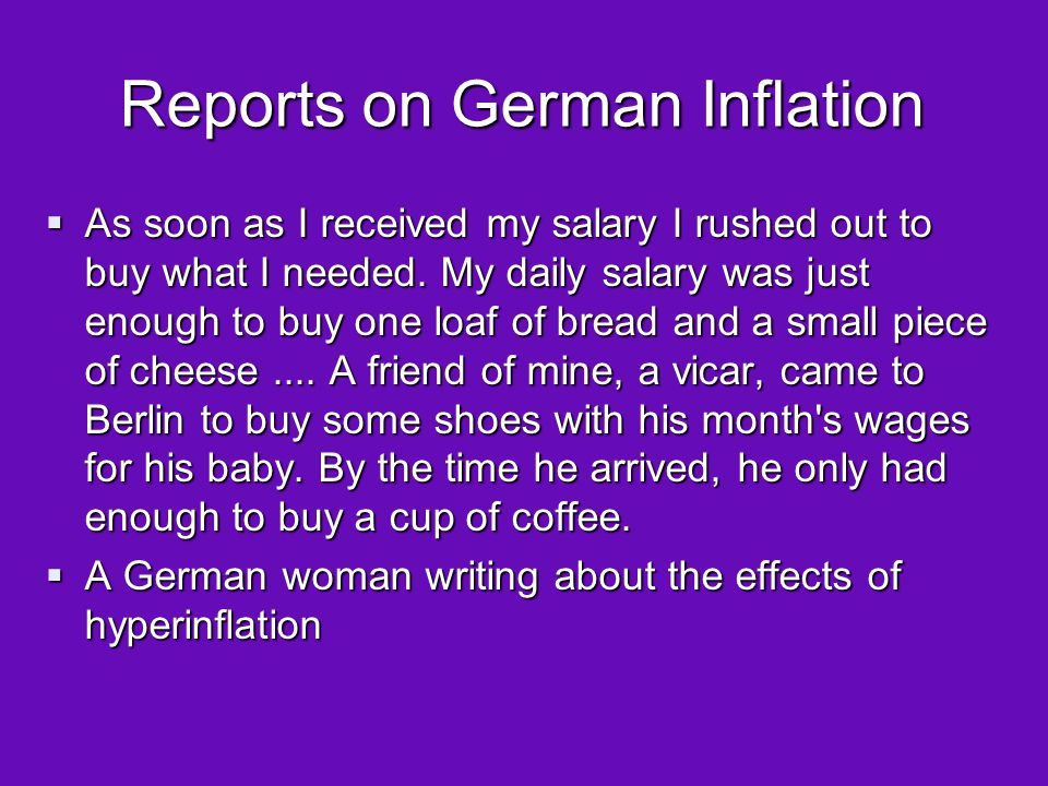 Reports on German Inflation  Two women were carrying a laundry basket filled to the brim with banknotes.