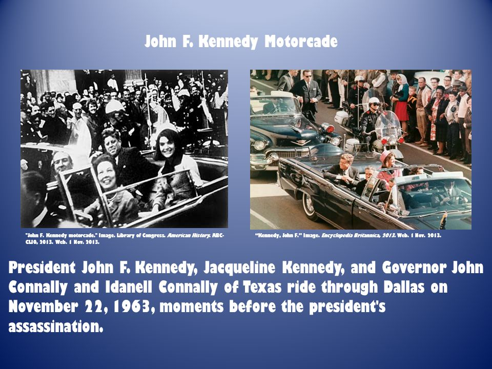 President John F. Kennedy, Jacqueline Kennedy, and Governor John Connally and Idanell Connally of Texas ride through Dallas on November 22, 1963, mome