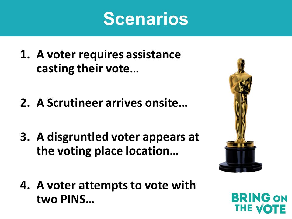 1.A voter requires assistance casting their vote… 2.A Scrutineer arrives onsite… 3.A disgruntled voter appears at the voting place location… 4.A voter attempts to vote with two PINS… Scenarios