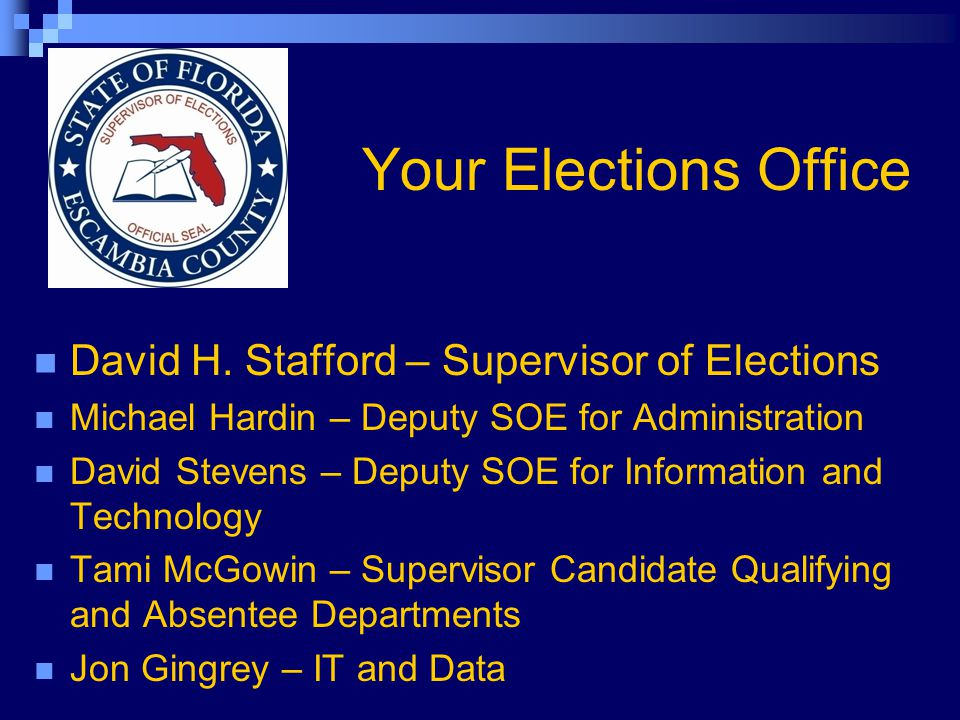 Your Elections Office David H.