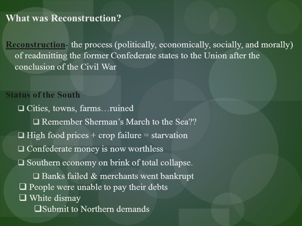 What I Know about Reconstruction What I Learned About Reconstruction What I Want to Learn about Reconstruction K-W-L