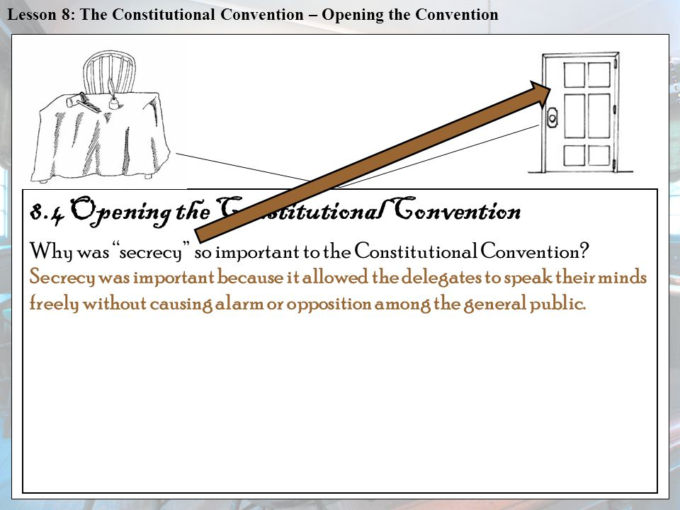 VOCAB CONSTITUTIONS written plans that provide the basic framework of a government Lesson 8: The Constitutional Convention – Opening the Convention