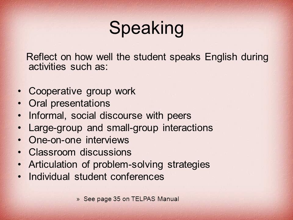 Speaking Reflect on how well the student speaks English during activities such as: Cooperative group work Oral presentations Informal, social discours