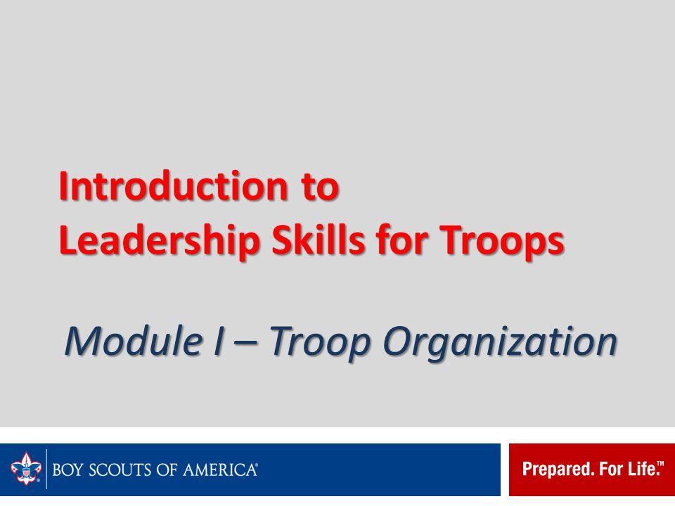Introduction to Leadership Skills for Troops The Patrol Leaders' Council plans and runs the Troop's program and activities.