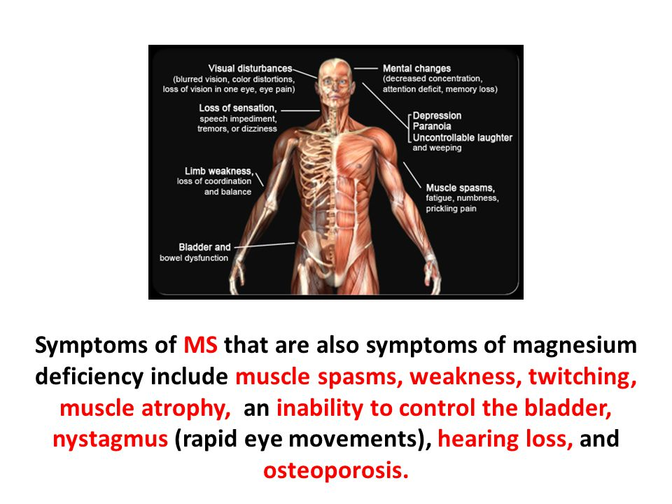 Symptoms of MS that are also symptoms of magnesium deficiency include muscle spasms, weakness, twitching, muscle atrophy, an inability to control the