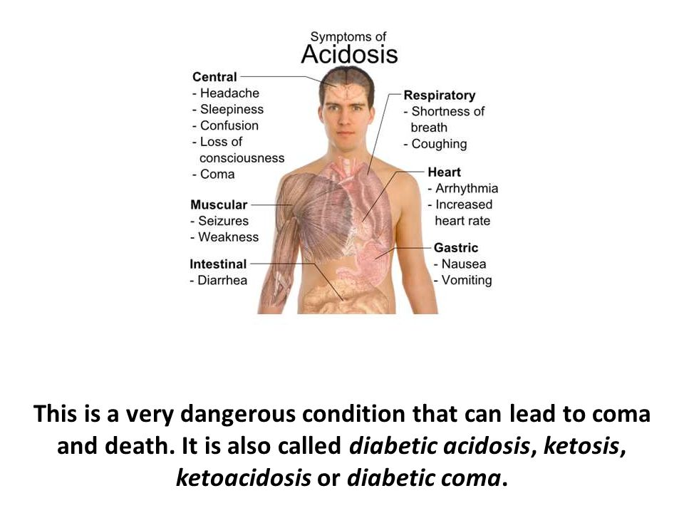 This is a very dangerous condition that can lead to coma and death. It is also called diabetic acidosis, ketosis, ketoacidosis or diabetic coma.