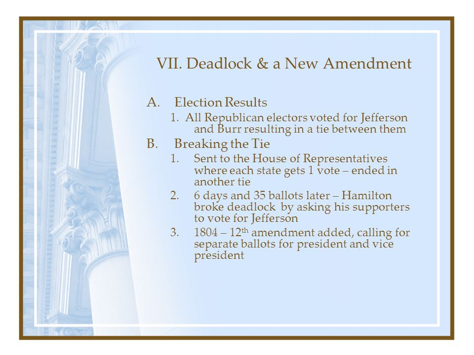 VII. Deadlock & a New Amendment A.Election Results 1. All Republican electors voted for Jefferson and Burr resulting in a tie between them B.Breaking