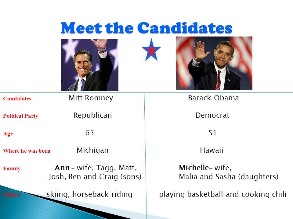 Candidates Mitt Romney Barack Obama Political Party Republican Democrat Age 6551 Where he was born Michigan Hawaii Family Ann – wife, Tagg, Matt, Mich