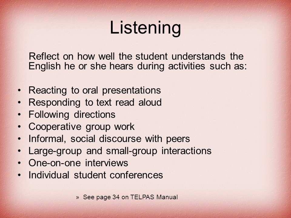 Listening Reflect on how well the student understands the English he or she hears during activities such as: Reacting to oral presentations Responding