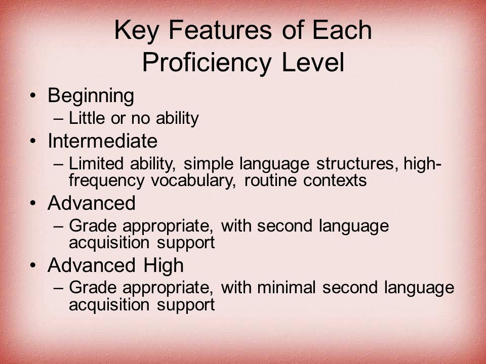 Key Features of Each Proficiency Level Beginning –Little or no ability Intermediate –Limited ability, simple language structures, high- frequency voca