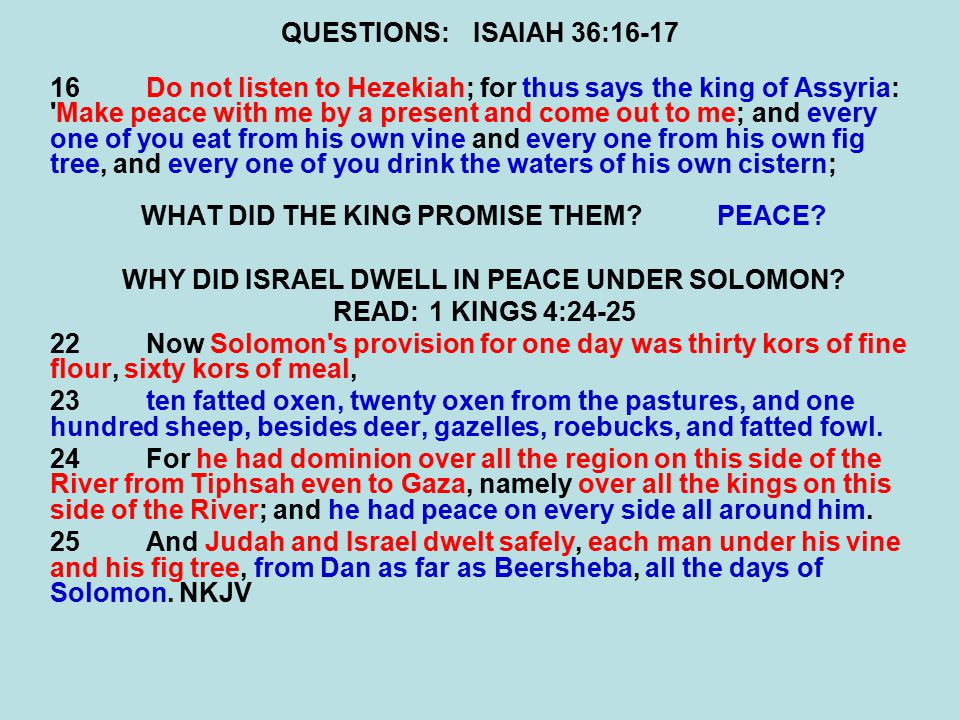 QUESTIONS:ISAIAH 36:16-17 16Do not listen to Hezekiah; for thus says the king of Assyria: Make peace with me by a present and come out to me; and every one of you eat from his own vine and every one from his own fig tree, and every one of you drink the waters of his own cistern; WHAT DID THE KING PROMISE THEM PEACE.
