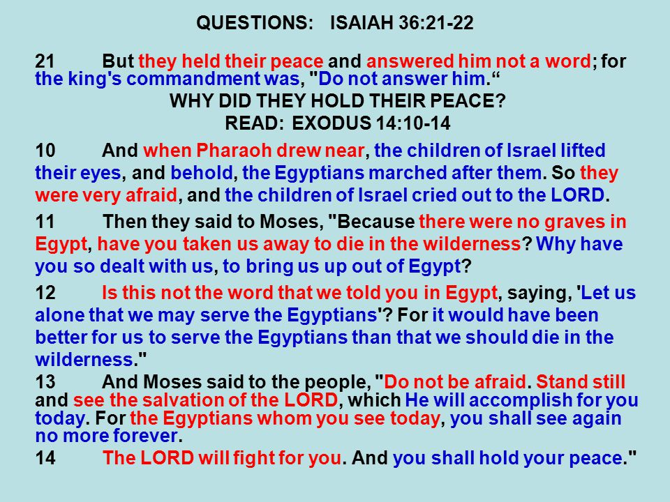 QUESTIONS:ISAIAH 36:21-22 21But they held their peace and answered him not a word; for the king s commandment was, Do not answer him. WHY DID THEY HOLD THEIR PEACE.