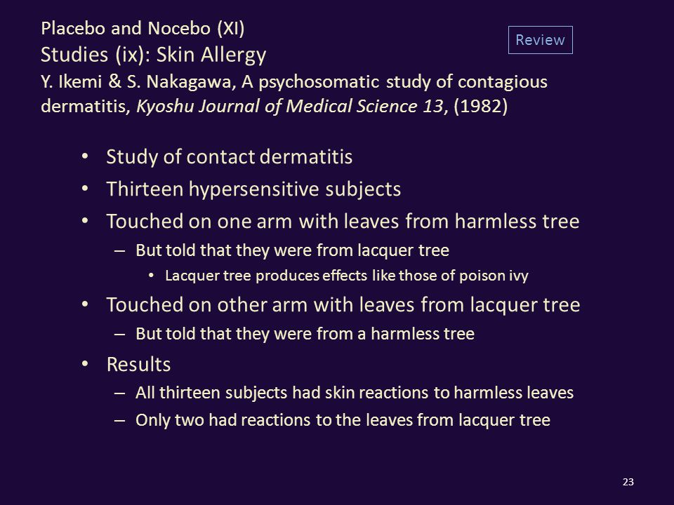 Placebo and Nocebo (XI) Studies (ix): Skin Allergy Y.