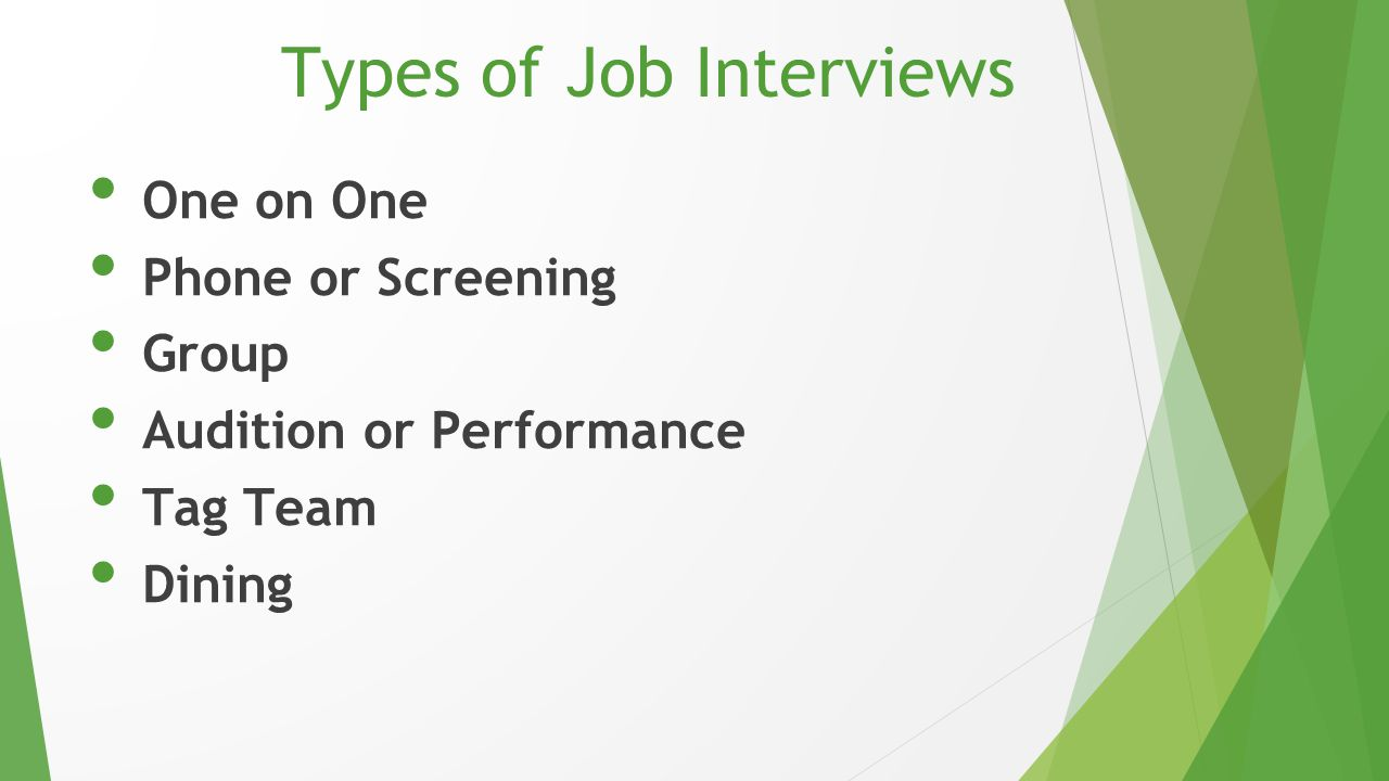 Types of Job Interviews One on One Phone or Screening Group Audition or Performance Tag Team Dining