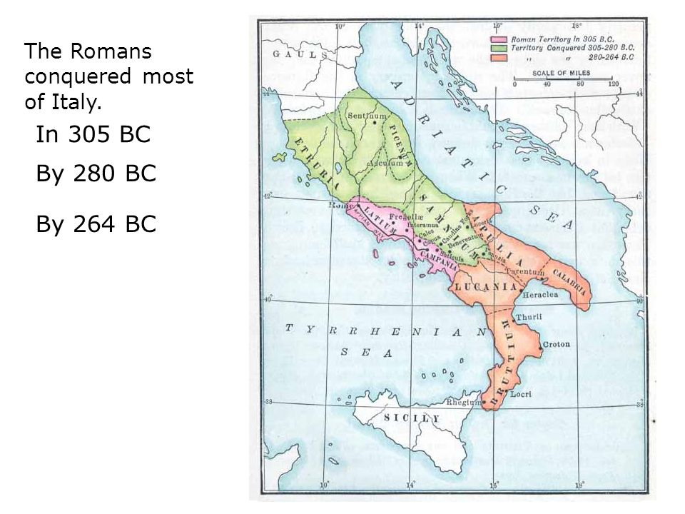 The Romans conquered most of Italy. In 305 BC By 280 BC By 264 BC