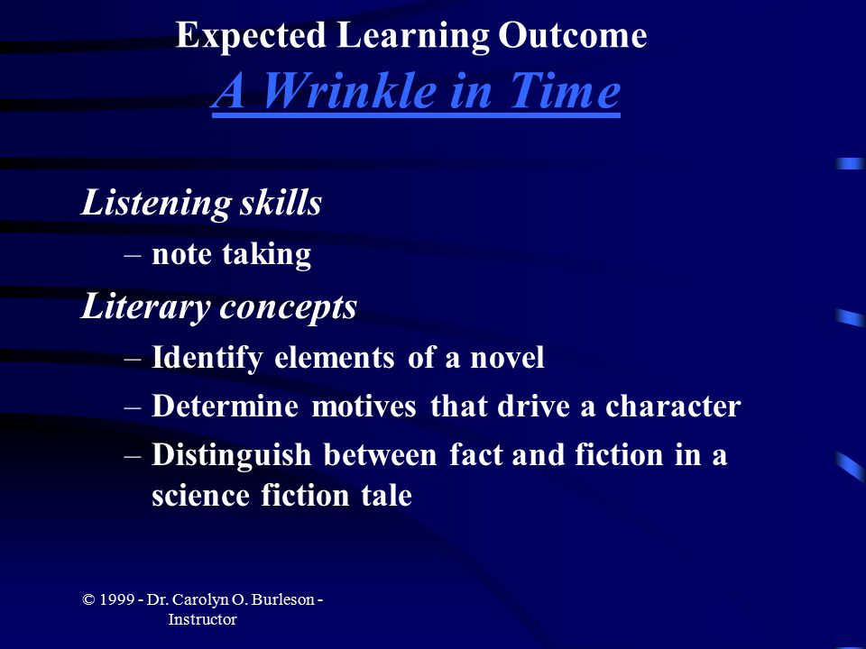 © 1999 - Dr. Carolyn O. Burleson - Instructor Expected Learning Outcome A Wrinkle in Time Listening skills –note taking Literary concepts –Identify el