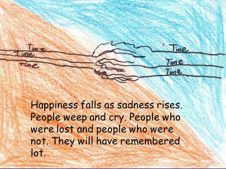 Happiness falls as sadness rises. People weep and cry.