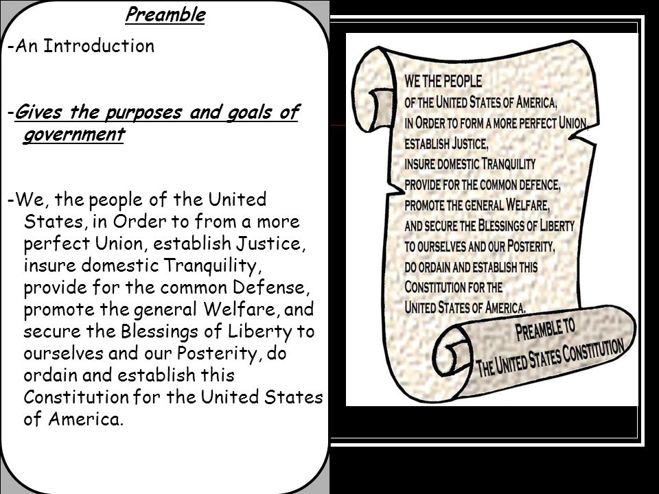 Preamble -An Introduction -Gives the purposes and goals of government -We, the people of the United States, in Order to from a more perfect Union, est