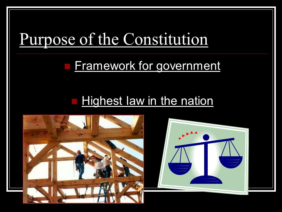 Purpose of the Constitution Framework for government Highest law in the nation