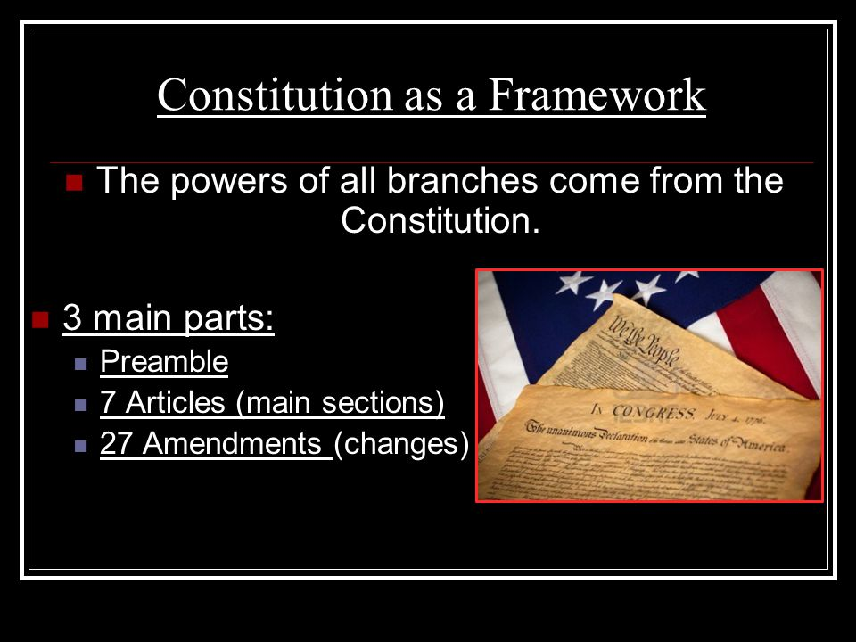 Constitution as a Framework The powers of all branches come from the Constitution. 3 main parts: Preamble 7 Articles (main sections) 27 Amendments (ch